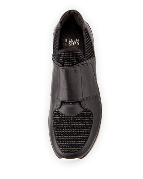 Wing Grip-Strap Leather Sneaker, Black