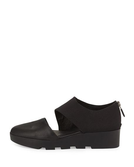 Asymmetrical Wedge | antelope black asymmetrical leather