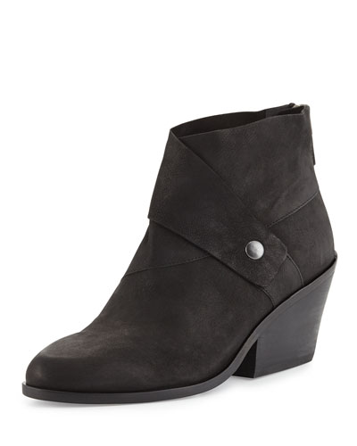 Tag Wrap-Snap Leather Bootie, Black