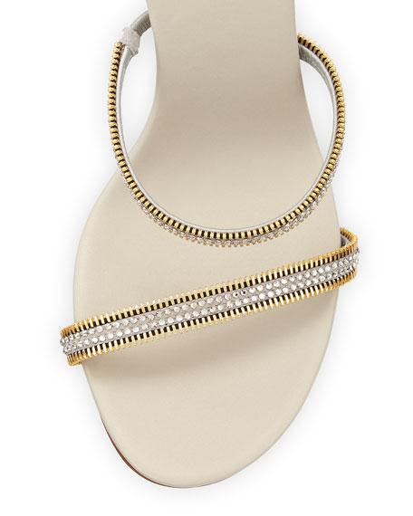 Rene Caovilla Crystal Snake-Coil Evening Sandal, Silver
