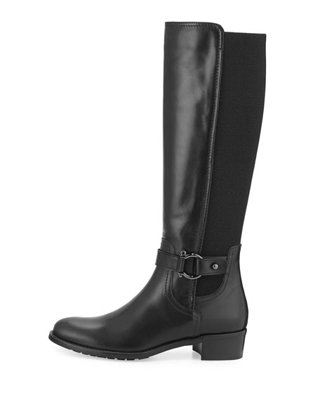 Odina Stretch-Inset Leather Knee Boot