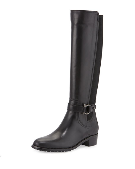 Aquatalia Odina Stretch-Inset Leather Knee Boot