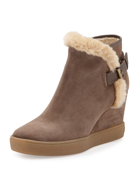Aquatalia Cameron Faux-Fur-Trimmed Suede Wedge Bootie