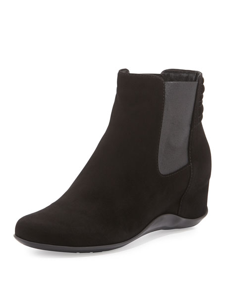 Aquatalia Vernon Suede Demi-Wedge Boot, Black