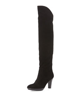 Rachelle Over-the-Knee Suede Boot, Black