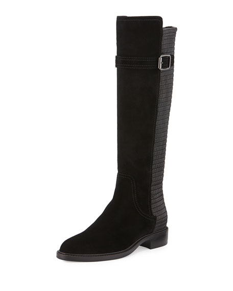 Aquatalia Gael Suede Smocked-Inset Knee Boot