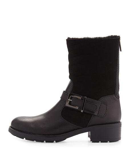 Sandra Shearling Fur Moto Boot, Black