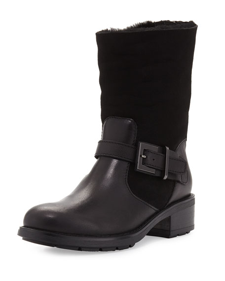 Aquatalia Sandra Shearling Fur Moto Boot, Black