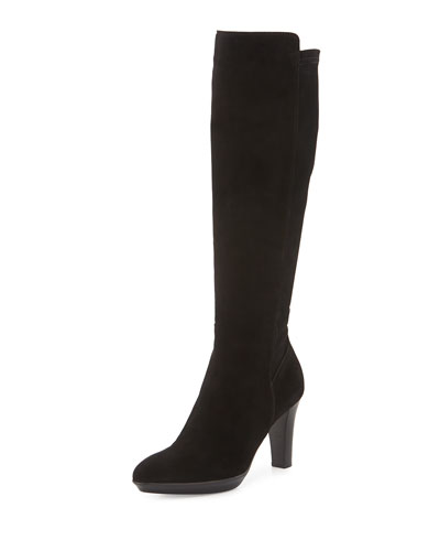 Raine Stretch-Suede Knee Boot, Black