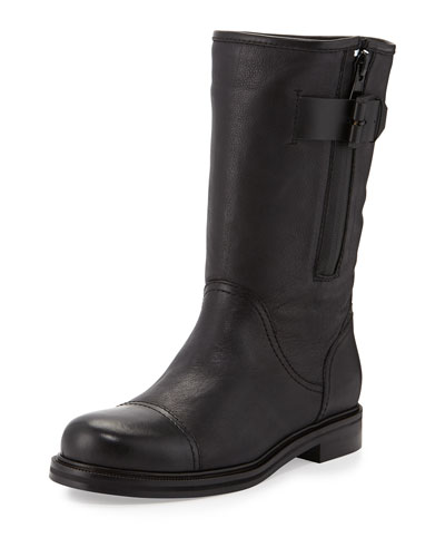 Baily Leather Moto Boot, Black