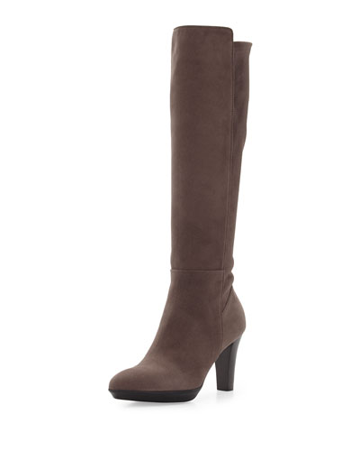 Raine Stretch-Suede Knee Boot, Taupe