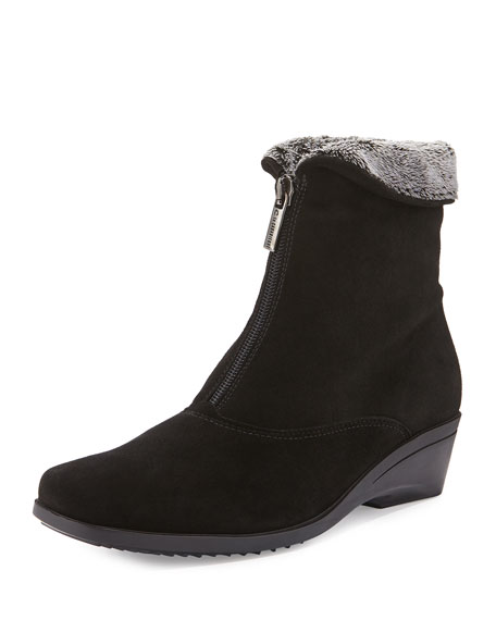 La Canadienne Evitta Faux-Fur Demi-Wedge Boot, Black