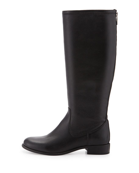 Sarit Back-Zip Leather Boot, Black