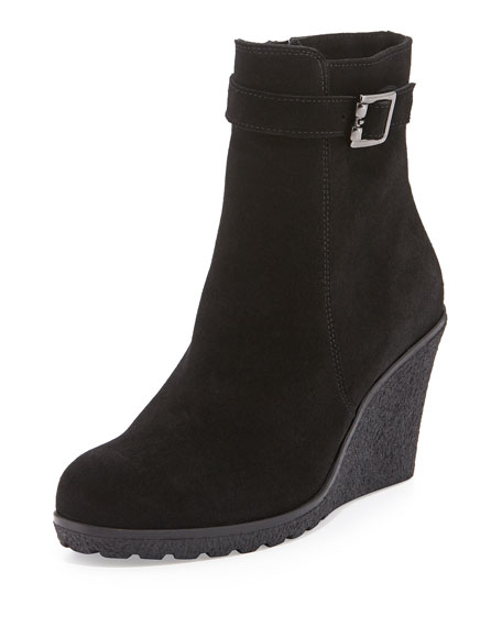 La Canadienne Kimmy Suede Wedge Bootie, Black