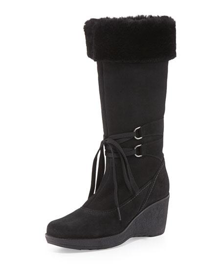 la canadienne viola shearling fur lined wedge boot black