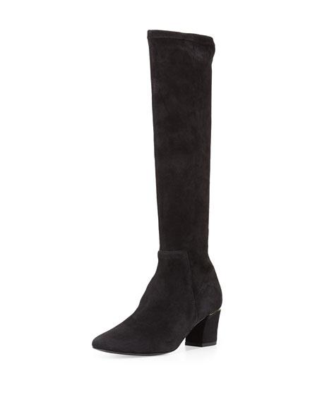 Delman Cyera Stretch-Suede Knee Boot, Black