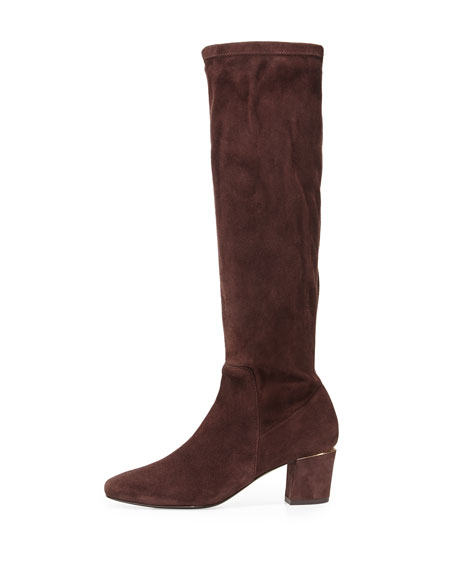 Cyera Stretch-Suede Knee Boot, Dark Brown