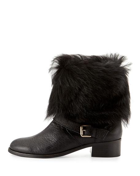 Minka Fur-Cuff Moto Boot, Black