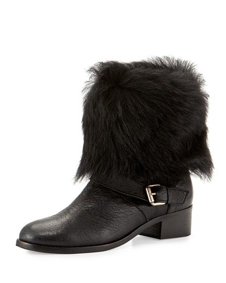 Delman Minka Fur-Cuff Moto Boot, Black