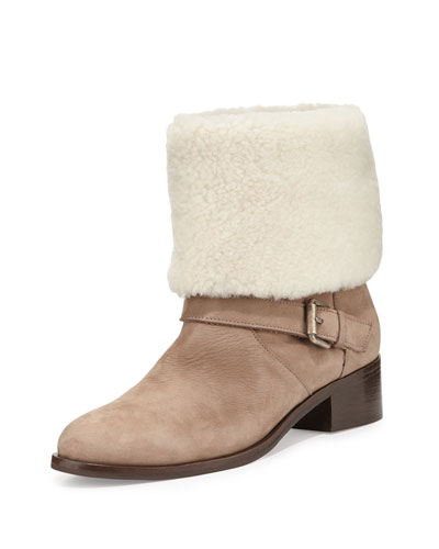 Minka Fur-Cuff Moto Boot, Off White