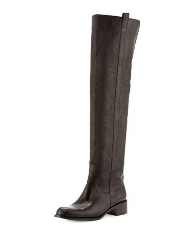 Sofie Over-the-Knee Leather Boot, Black