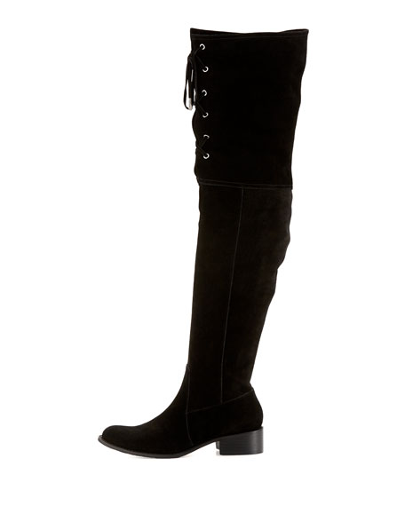 Stacy Over-the-Knee Lace-Up Boot, Black