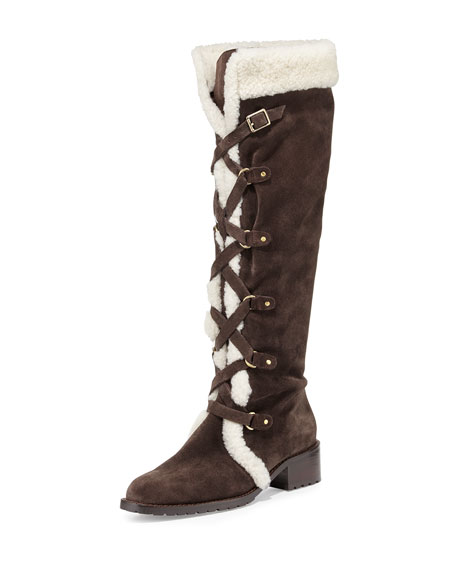 DelmanStrut Lace-Up Suede Boot, Dark Brown