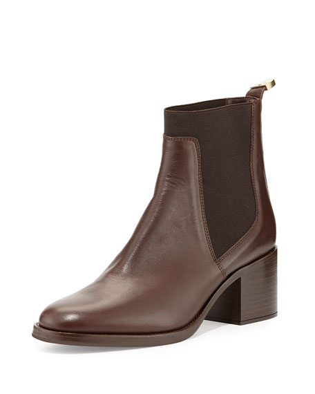 Delman Corie Leather Chelsea Boot, Dark Brown