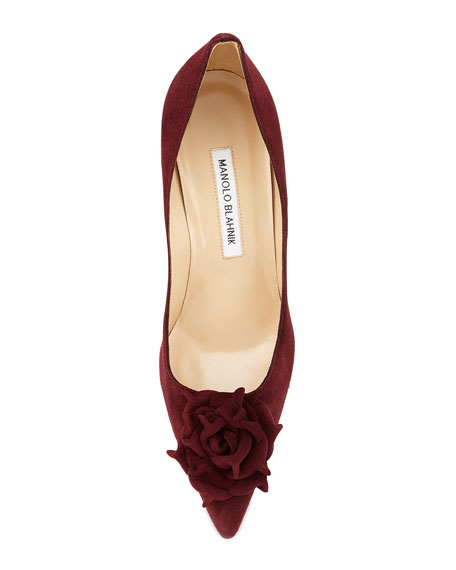 Lisa Suede Flower 90mm Pump, Bordeaux