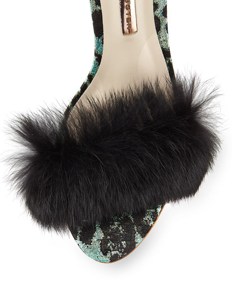 Nicole Fur d'Orsay Sandal, Green/Black