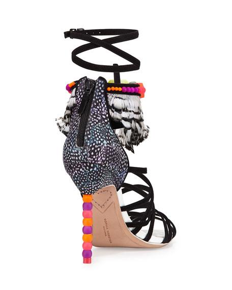 Alessandra Pastel Feather Sandal, Black