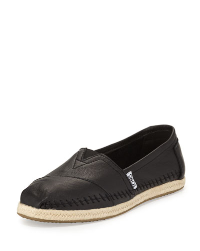 Alpargata Leather Slip-On, Black