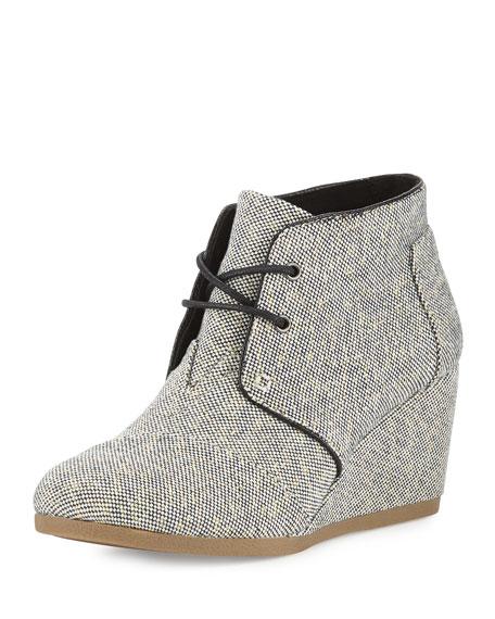 TOMS Metallic Linen Desert Wedge Boot, Black/Gold