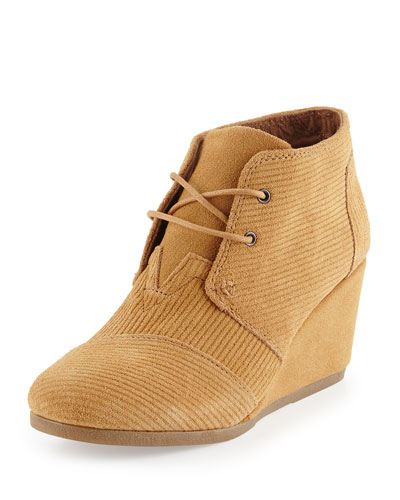 Corduroy Suede Desert Wedge Bootie, Brown Sugar