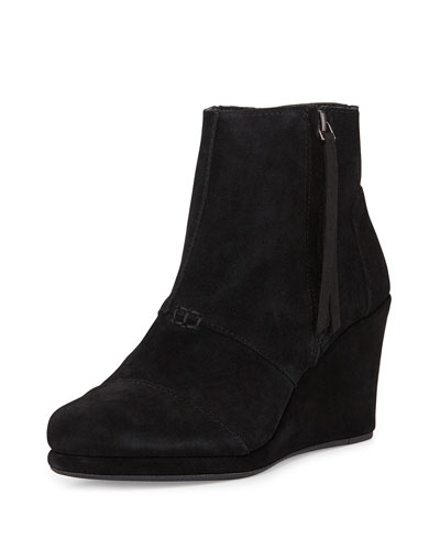Suede Desert Wedge Bootie, Black