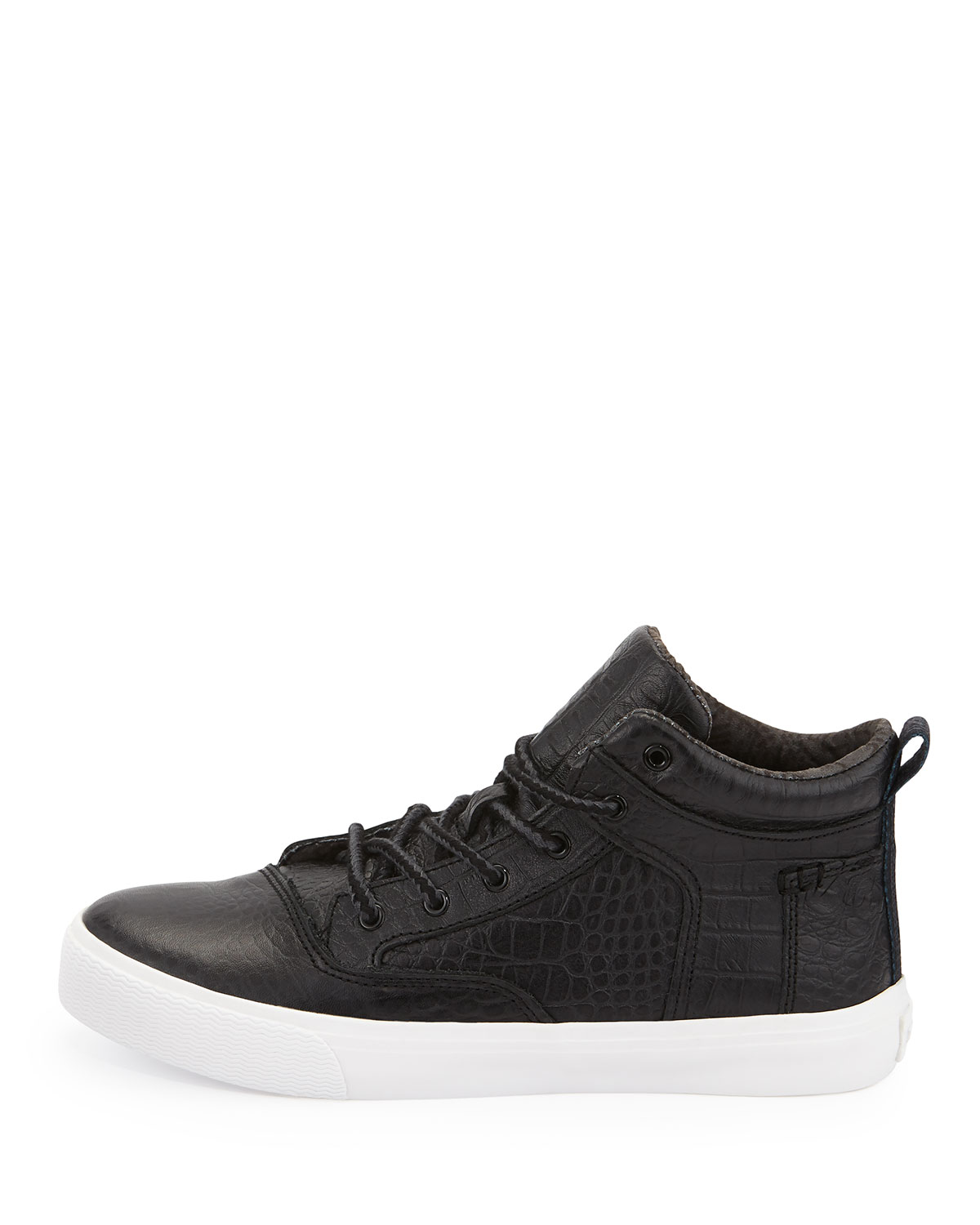 TOMS Camila Crocodile-Embossed Leather High-Top Sneaker, Black | Neiman  Marcus