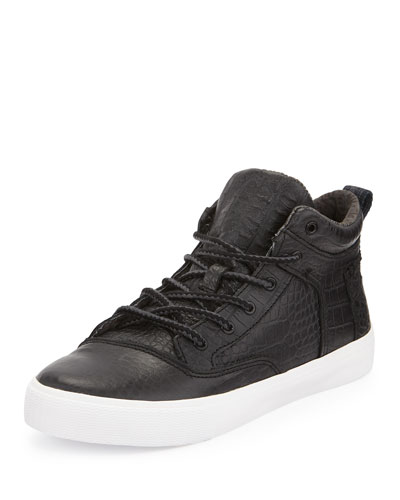 Camila Crocodile-Embossed Leather High-Top Sneaker, Black