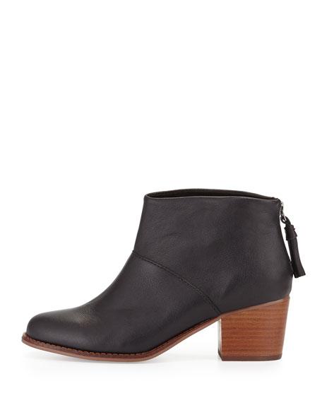 Leila Leather Block-Heel Bootie, Black