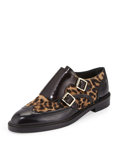 Sunningford Calf-Hair Double-Monk Loafer, Black/Camel