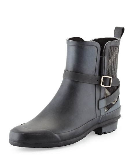 Burberry Riddlestone Check-Panel Rain Boot