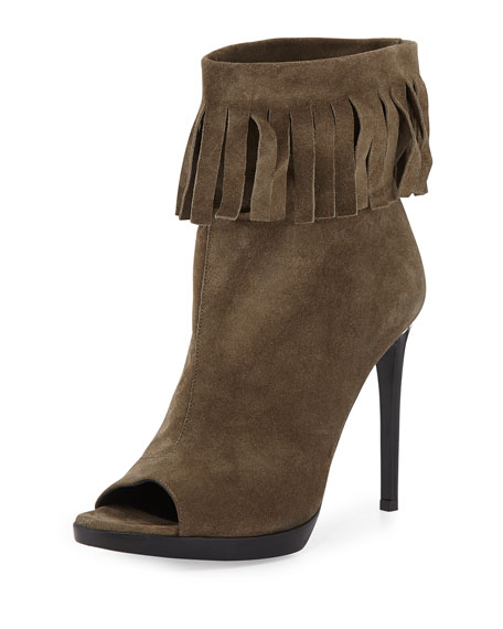 Burberry Pelling Fringed Suede Bootie, Military Khaki
