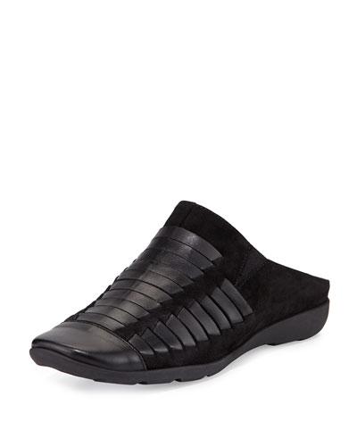 Gordana Woven Leather Mule, Black