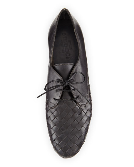 Naxos Woven Leather Oxford, Gray
