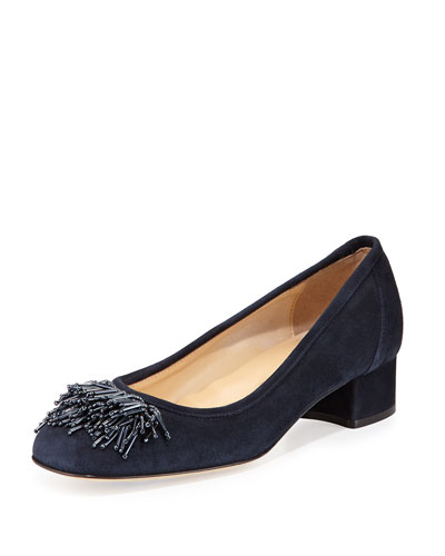Flynn Beaded Fringe Pump, Navy