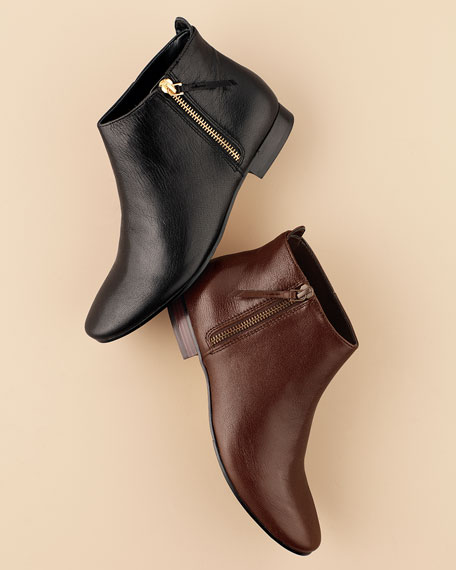 Belmont Leather Booties, Chestnut