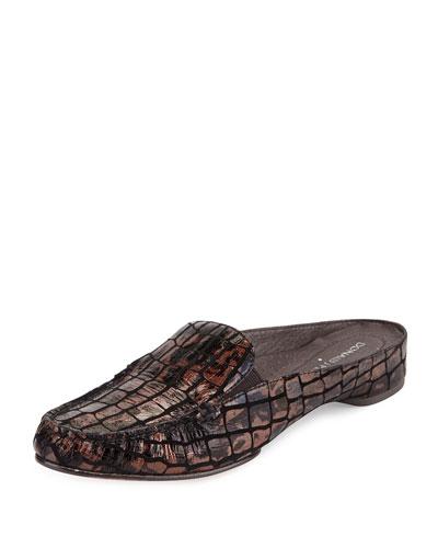 Breva Crocodile-Print Mule, Bronze