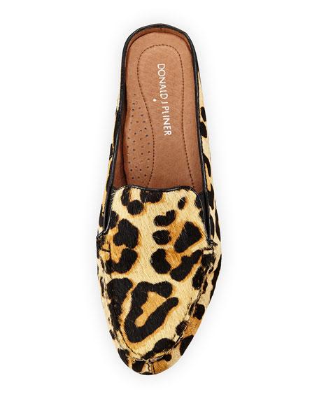 Breva Leopard-Print Calf-Hair Mule, Black/Natural