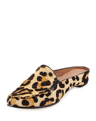 Breva Leopard-Print Calf-Hair Mule, Black/Natural