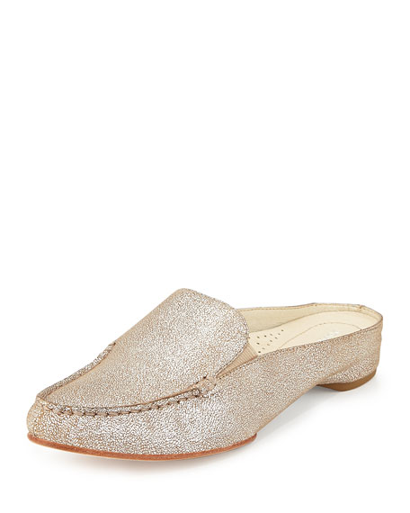 Donald J Pliner Breva Metallic Mule Slide, Natural/Silver