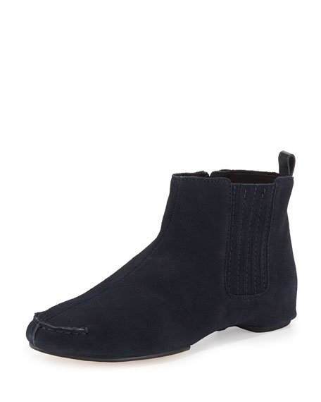 Belle Suede Flat Ankle Boot, Navy